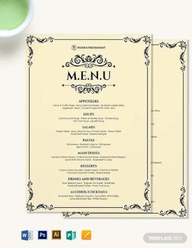 classy classic dinner menu template