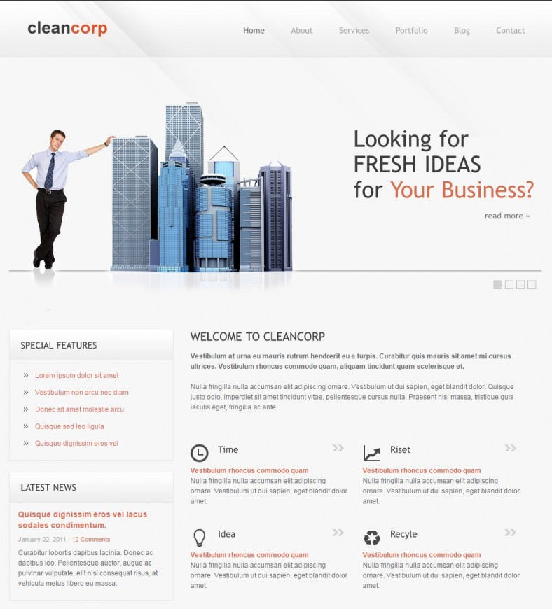 cleancorp corporate business html gallery template 788x870