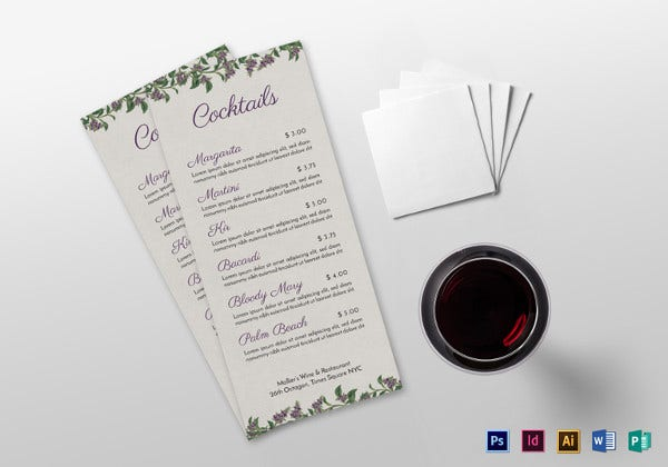 cocktail menu photoshop template