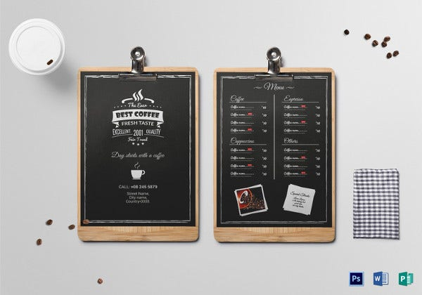 Coffee Menu Photoshop Template  Menu Templates Microsoft Word