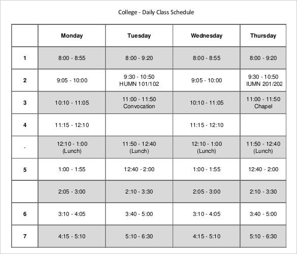 college-daily-class-schedule