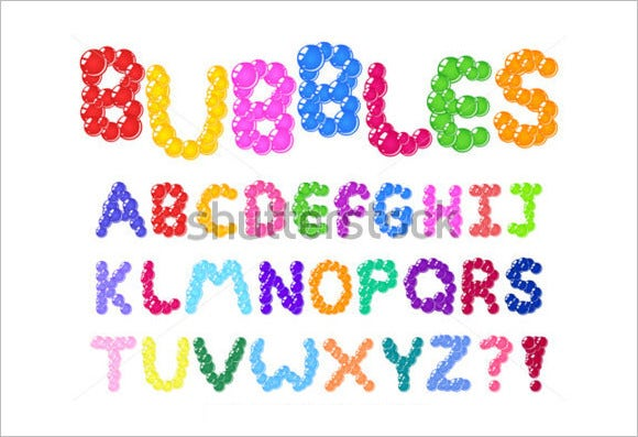 color coated bubbles alphabet set