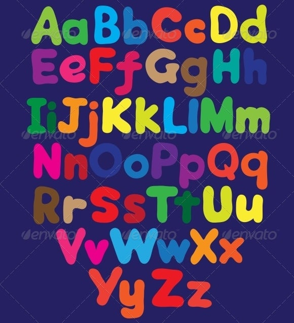 Colored Alphabets In Bubble Format
