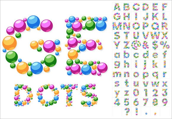 colorful bubble alphabets set