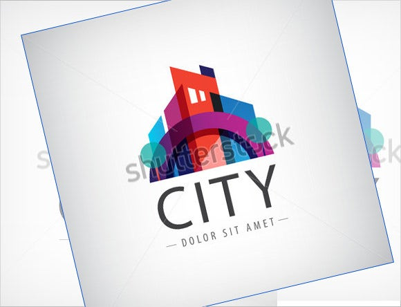 colorful city construction company logo