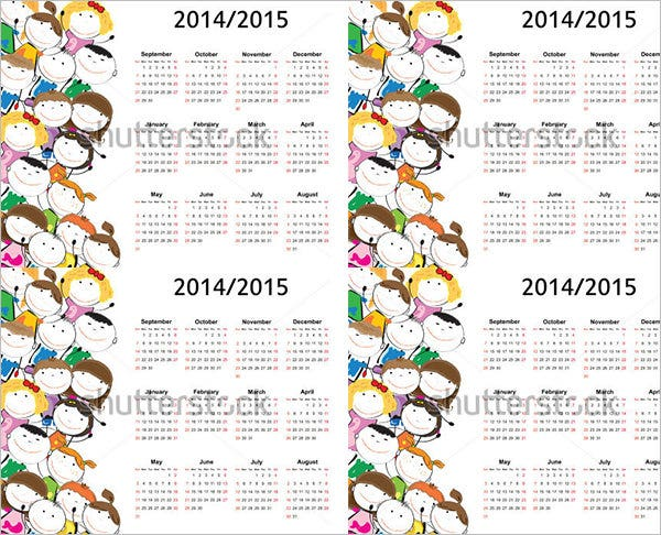 colorful kids school calendar template