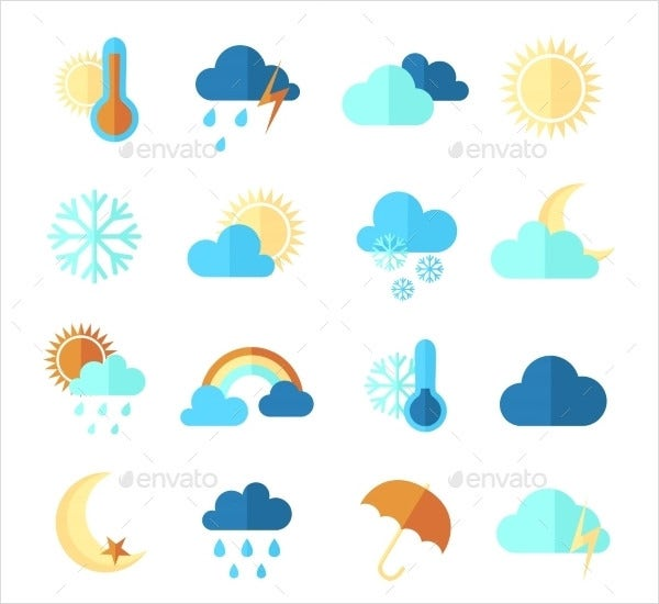 colorful weather icons suite