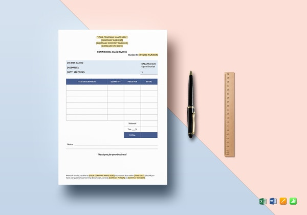 commercial sales invoice template