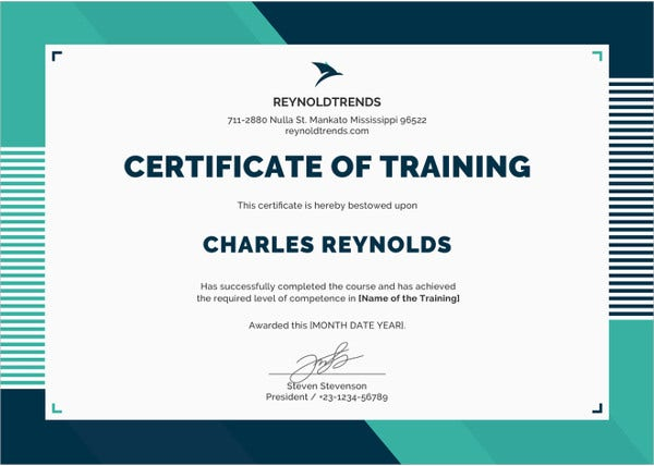 company training certificate template in ipages