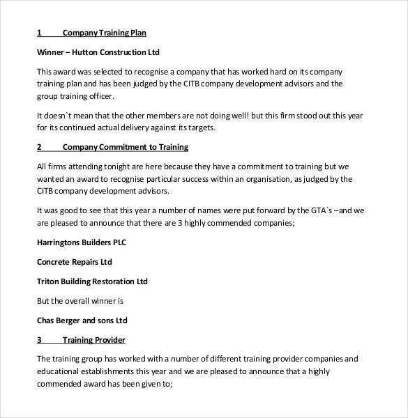 company training plan template pdf