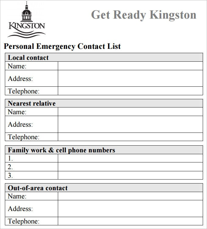 Exceptional Emergency Contact List Template Pdf Free Download Regard To Free Contact List Template