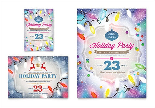 cool holiday party word flyer template