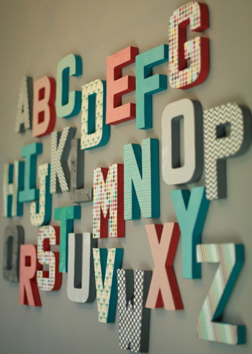 coral nursery alphabet letters wall theme for kids