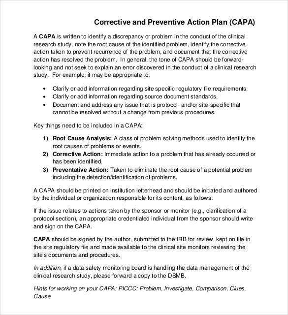corrective and preventive action plan template