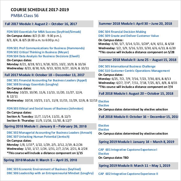 course-class-schedule