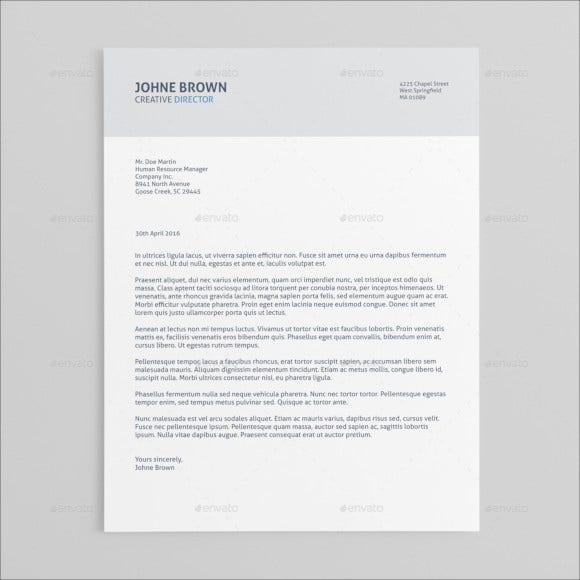 cover letter word format elegant design template