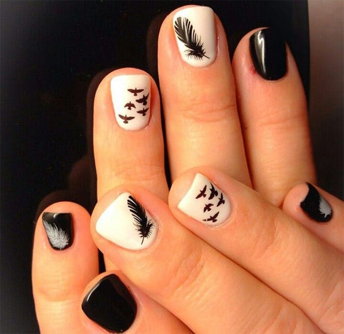 crazy white and black nail design