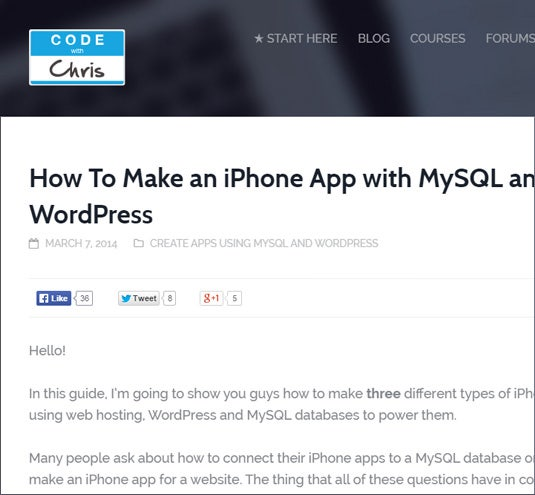 Create Your iPhone App with MySQL and WordPress