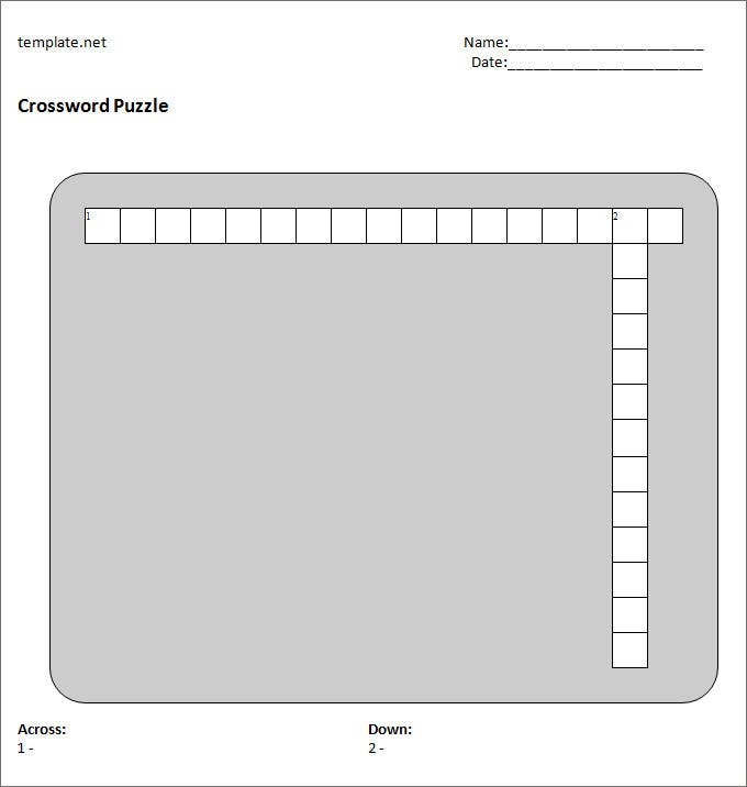 Blank Crossword Template  Crossword Template  Free  Premium Templates