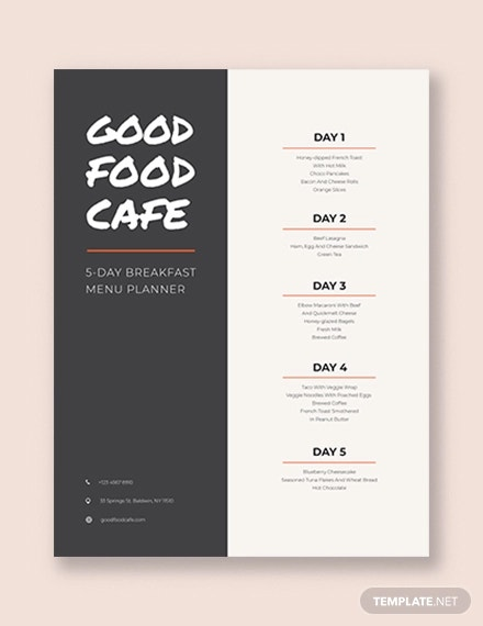 creative menu planner template