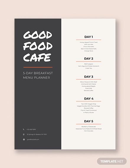 creative menu planner template