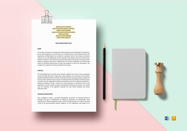crisis management plan template to print