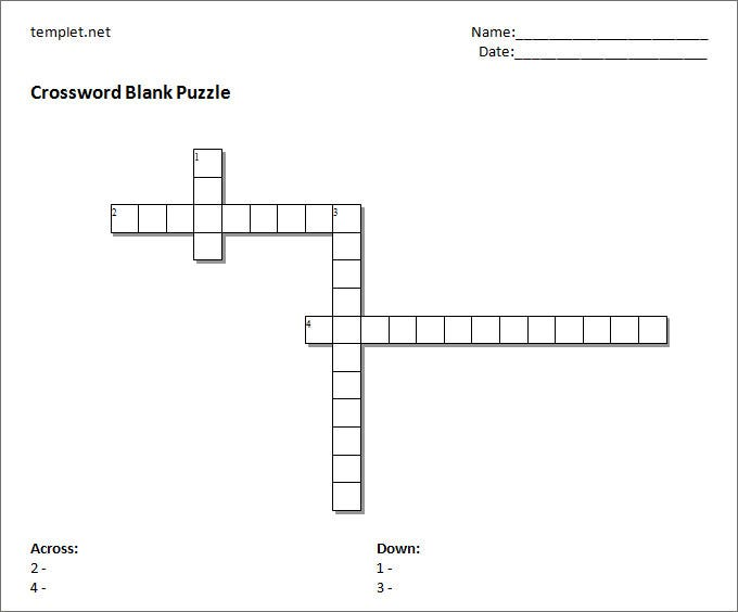 15 Blank Crossword Template Crossword Template Free Premium