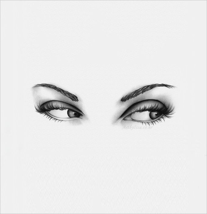 Crying eyes pencil drawing