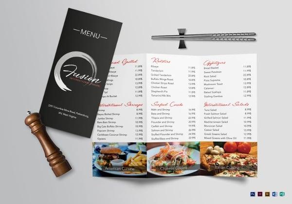 cuisine tri fold menu