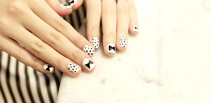 cute black and white nail art