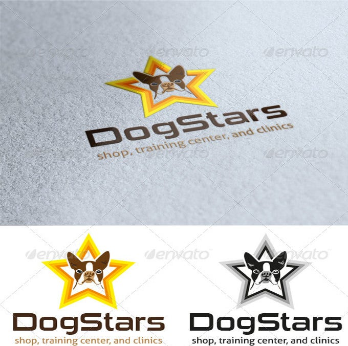 cute dog star logo