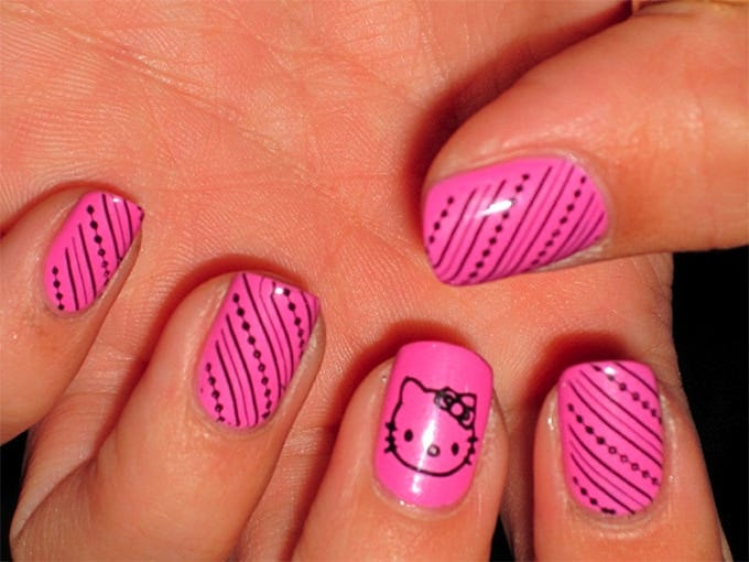 cute pink nail art designs