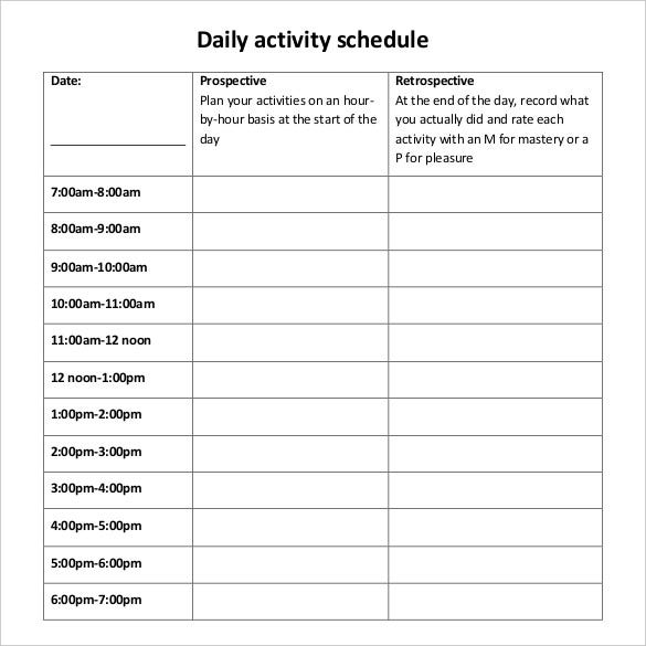 Daily schedule template 37 free word excel pdf for Activity timetable template