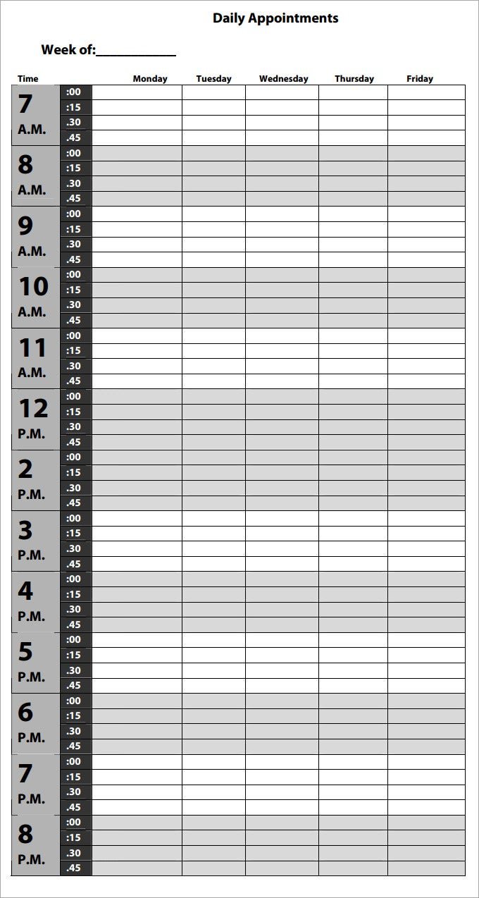 Fix And Manage Your Appointments With Appointment Schedule Template