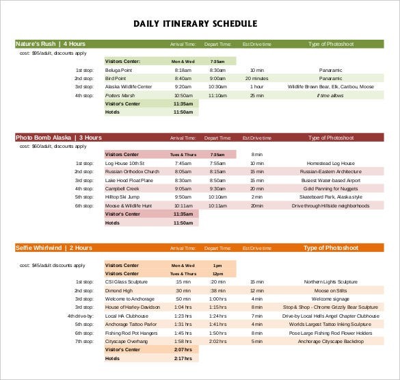 daily itinerary schedule