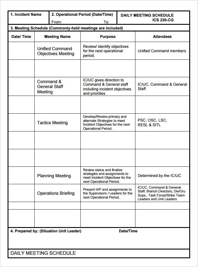 Meeting Schedule Template - 5 Free Word, Pdf, Excel Documents Download