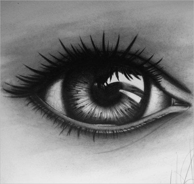 Dark eye pencil drawing