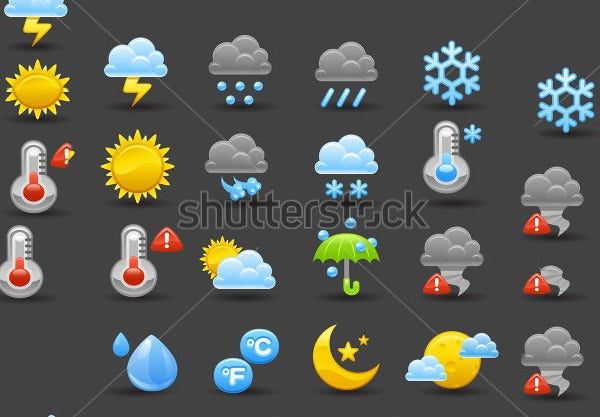 dark weather icon set