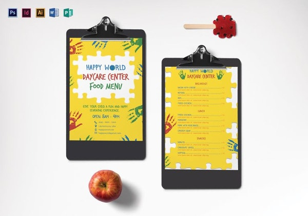 daycare center menu template1