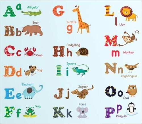 decorative nursery wall alphabet letters stickers
