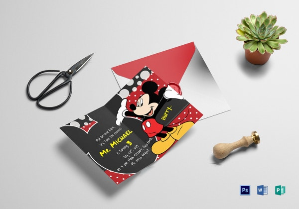 delightful mickey mouse birthday invitation card template
