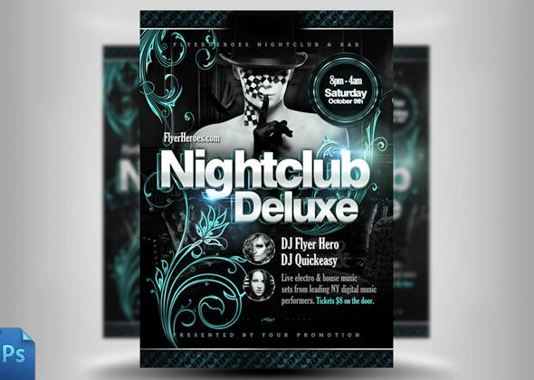 delux night club flyer template