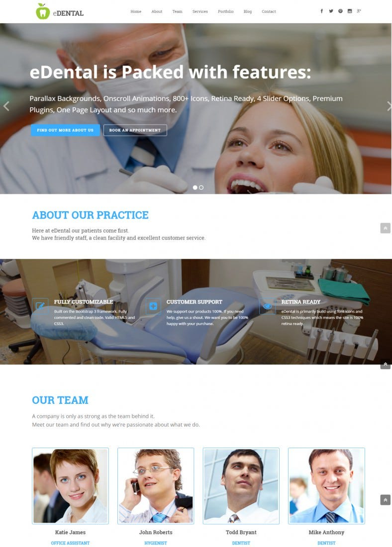 dentist parallax responsive wordpress theme 788x1101