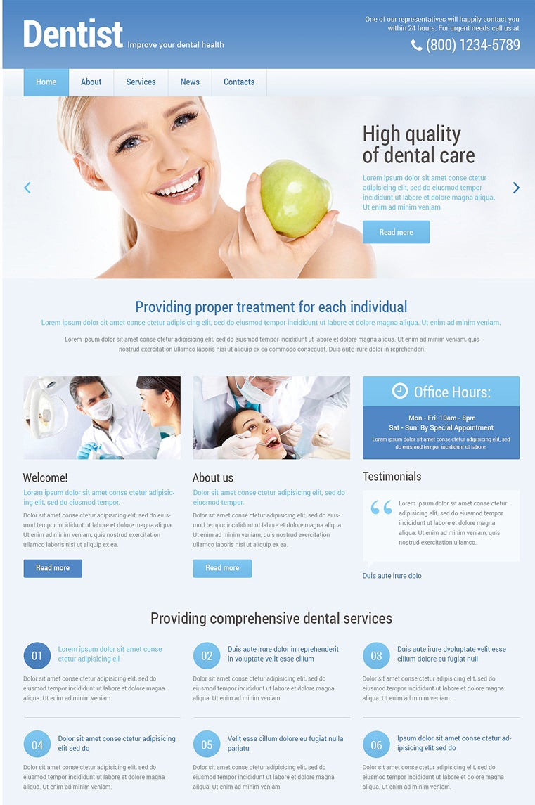 dentistry responsive wordpress theme1