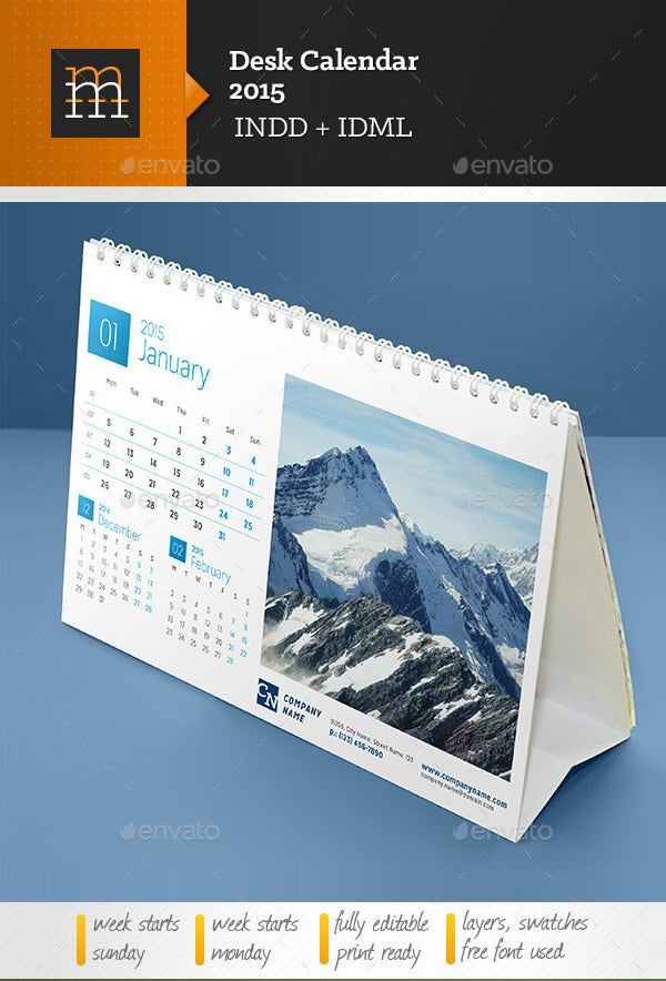 Calendar Free Download For Pc : Desk calendar template free psd ai indesign eps
