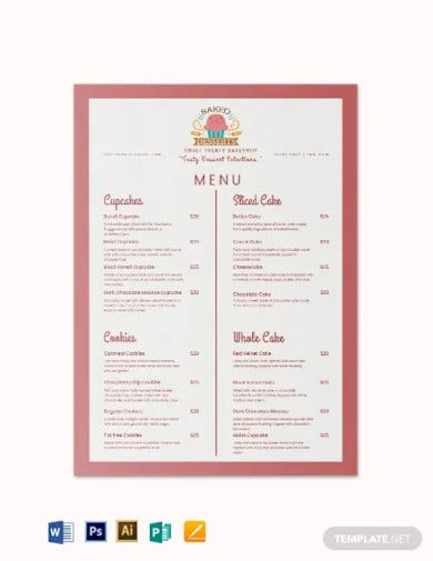 dessert bakery menu template