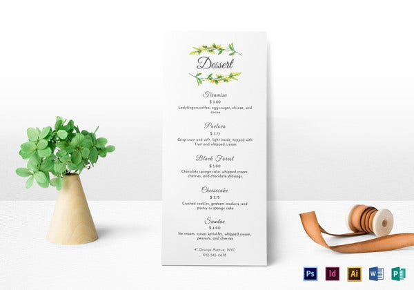 dessert menu design template