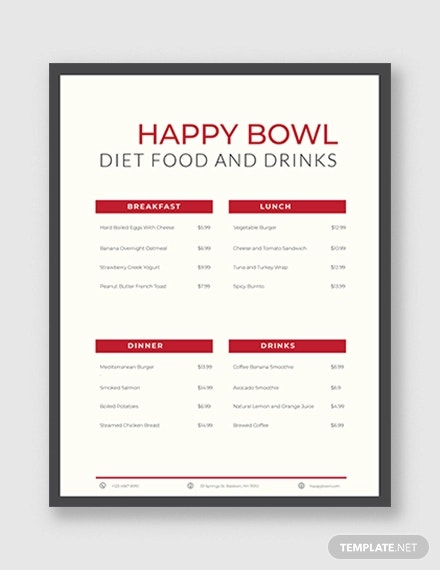 diet menu planner template