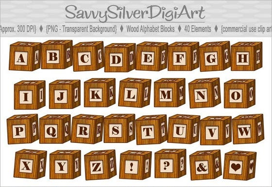 digital wooden alphabet blocks set 1