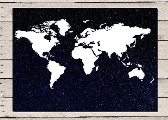 digital world map poster